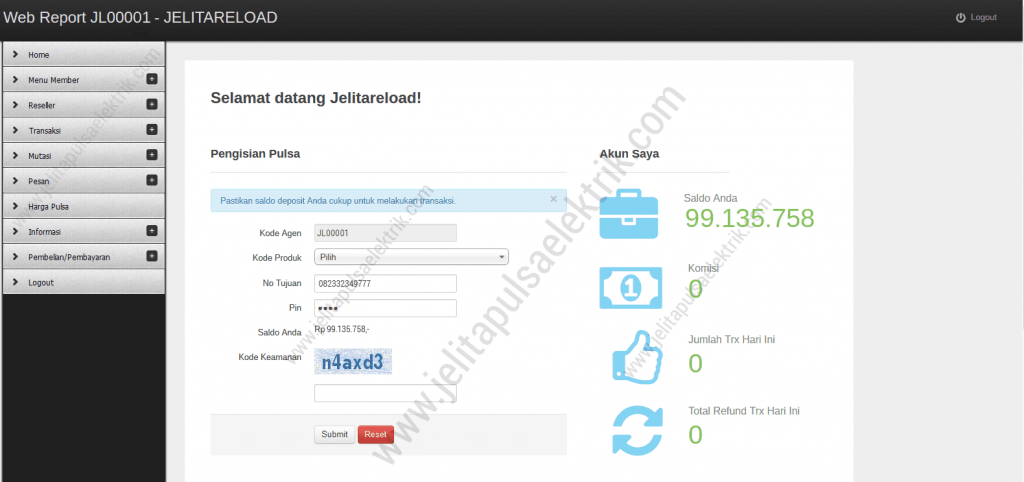 dashboard webreport jelita reload